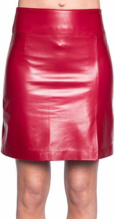 Hot  Women's Genuine Lambskin Leather Skirt Soft Below Knee Red Skirt LS15
