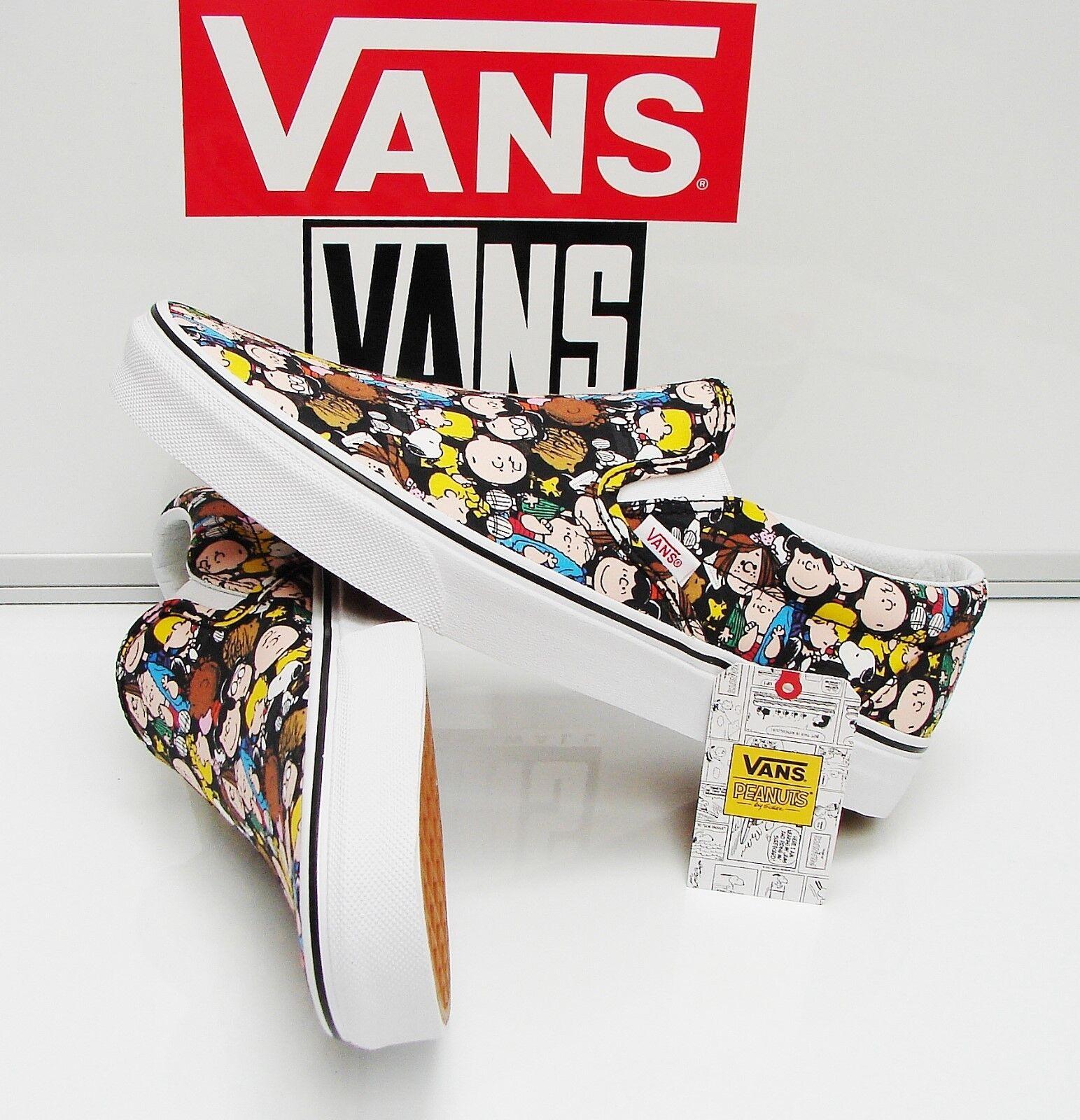 Vans Classic Slip On Peanuts The Gang Black VN0A38F7OQX Men's Size: 9.5