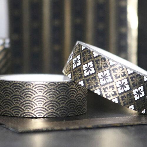 10 Rolls Washi Tape Set Black Gold Foil Print Decorative Tapes for Art DIY Craft
