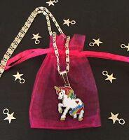 """WHITE UNICORN RAINBOW Horse PENDANT CHARM Girls 16"""" Necklace Mythical FANTASY"""