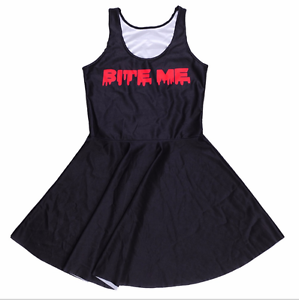 Bite-Me-Quote-Saying-Goth-Vampire-Black-Red-Gothic-Blood-Horror-Fun-Skater-Dress