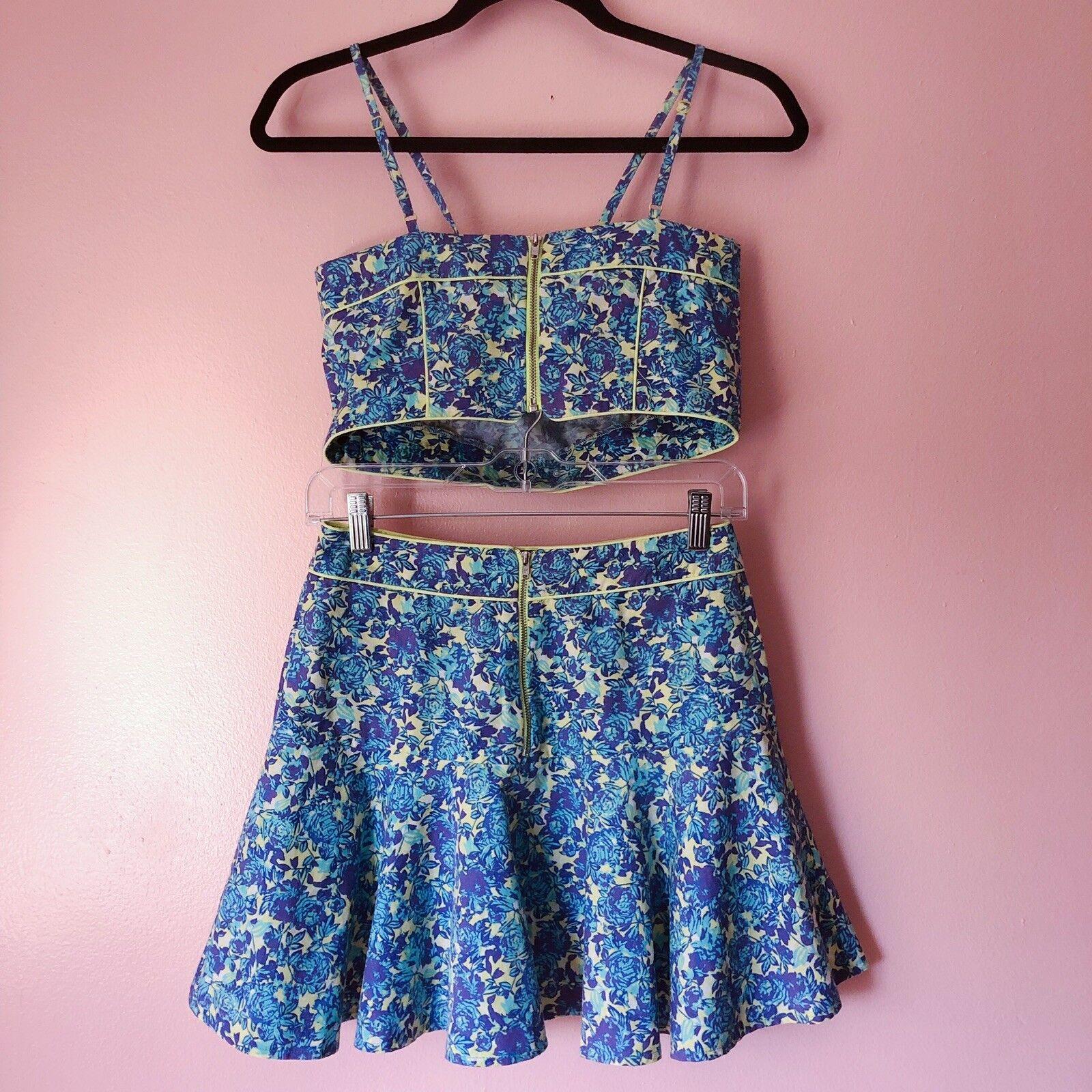 TopShop Neon Piped Floral Floral Floral Crop Skirt Set 526752