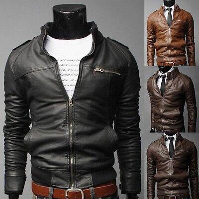 Hot Men/'s Outwear Leather Jacket Slim fit Biker Motorcycle jacket PU coat
