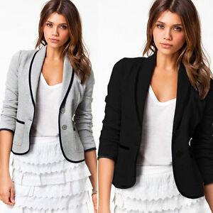 UK Womens Slim Fit Casual Smart Short Blazer Ladies Office Jacket ...