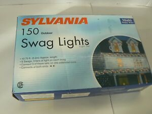 Sylvania 150 outdoor swag lights clear multi color wire 1075 feet image is loading sylvania 150 outdoor swag lights clear multi color aloadofball Images