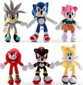 Sonic The Hedgehog Plush Toys Set Shadow Knuckles Amy Rose Tails Kids Gift 6pcs Ebay
