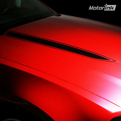 Ford Mustang Hood Spear  Stripes Pair 2010 2011 2012  Decals Vinyl  Matte Black