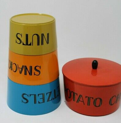 Vintage Lacquered NestingStacking Snack Time Bowls