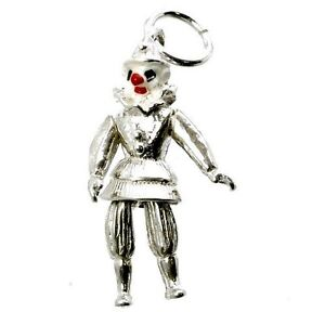 Sterling Silver Clown Charm Sterling Silver Movable Clowns Solid .925