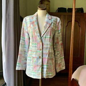 VINTAGE-Pastel-ORVIS-Plaid-Madras-Blazer-Jacket-Pink-Green-M-L