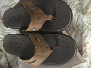 Sperry Leather Flip Flops Men's Size 11 Brand New In Box...