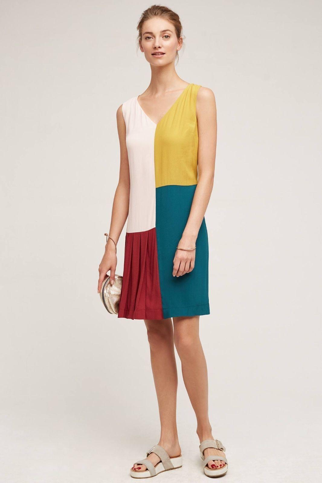 Anthropologie Dress 4 Shift Asymmetric Farbeblock Teal V-neck Pleated Sleeveless