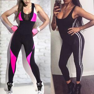 12932d47b3c Image is loading Women-Fitness-YOGA-Leggings-Jumpsuit-Romper-Sports-Gym-