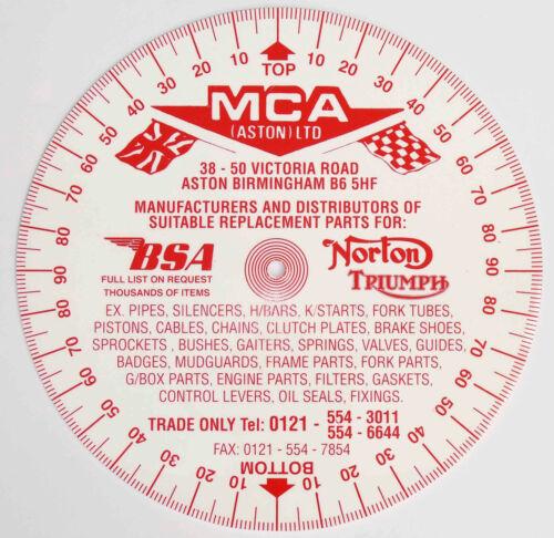 MCA Degree Timing Disc for Ariel AJS Triumph Norton BSA Rudge Matchless etc