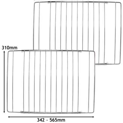 2 x Ripiani Regolabili Cromato Forno Grill Ripiano si adatta STUFE FORNELLI 345-565mm