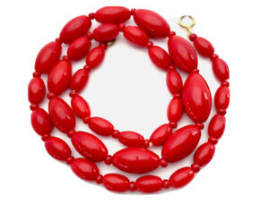 Vintage-Glossy-Red-Oval-Glass-Bead-Necklace-17-Long-GIFT-BOXED