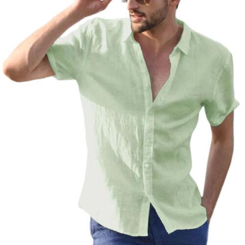 Mens Short Sleeve Summer T-Shirt Casual Beach Button Down Shirts Blouse Tops Tee