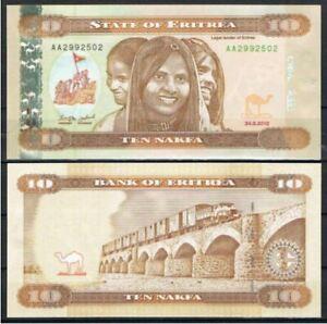 Eritrea Banknote 10 Nakfa 2012 Prefix AA (UNC) 全新 厄立特里亚 10纳克法 2012年