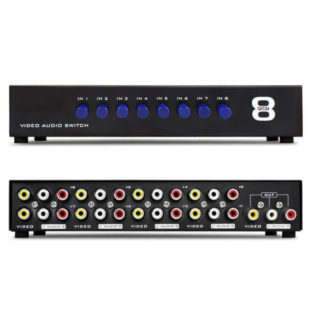 8 Ports RCA Video Audio AV Switch Switcher Selector 8 In 1 Out TV Splitter Box