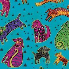 Dogs & Doggies By Laurel Burch - Aqua Metallic Dancing Dogs