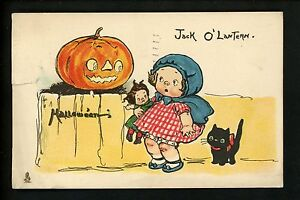 Halloween-postcard-Tuck-807-4-Campbell-Kids-JOL-black-cat-girl-doll-Vintage-RARE
