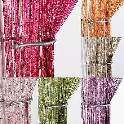 Sistematico Stringa Glitter Pannelli Di Facciata Continua ~ Fly Screen & Room Divider ~ Voile Tendine-mostra Il Titolo Originale