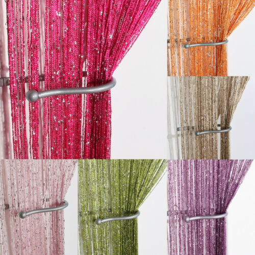 Glitter String Curtain Panels/&Fly Screen /& Room Divider/&Voile Net Curtains