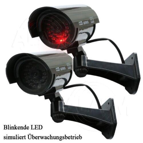 2 x CCD Überwachungskamera Attrappe LED Außen Innen CCTV Dummy Cam Camera Kamera