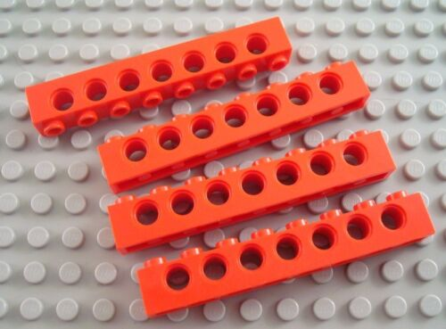 LEGO Lot of 4 Red 1x8 Technic Brick Pieces