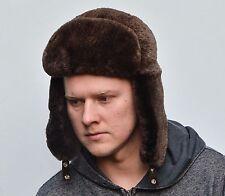 Brown Sheared Norwegian Beaver Fur Men's Russian Ushanka Trapper Aviator Hat