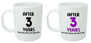 After 3 years him her mugs 3rd wedding anniversary for 3 yr wedding anniversary gift for him