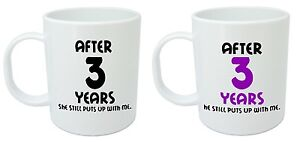 After 3 Years Him & Her Mugs - 3rd Wedding Anniversary Gifts for ...