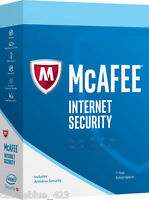 Ship Physical Key Card Only - Intel McAfee Internet Security 2017, 3 PCs - 1Year