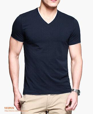 Mens Top T-Shirt Plain Color Basic Tee Short Sleeve V-Neck Layered Trim Look NEW