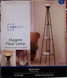 new mainstays etagere black finish floor lamp light with 3. Black Bedroom Furniture Sets. Home Design Ideas
