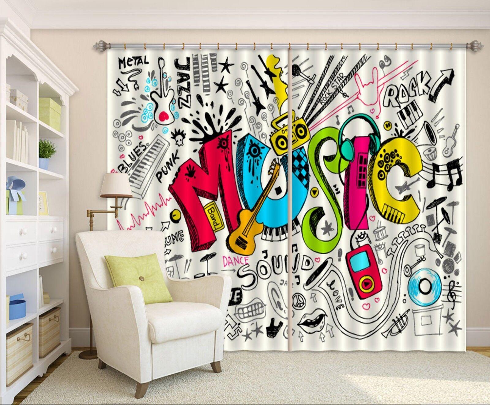 3D Graffiti 75 Cortinas de impresión de cortina de foto Blockout Tela Cortinas Ventana CA