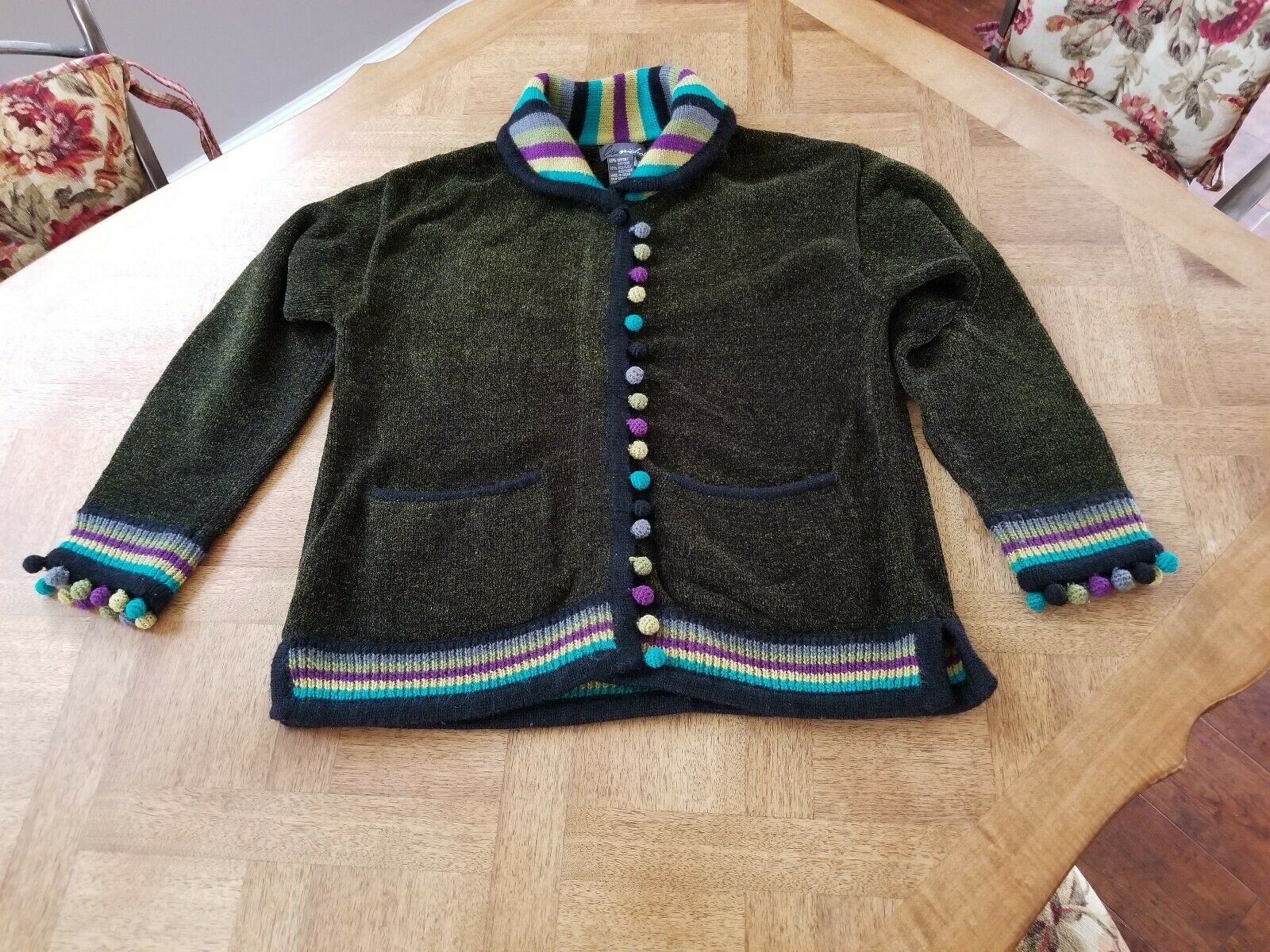 Lisa Nichols VINTAGE CARDIGAN SWEATER w POM-POMS-Hunter Green Multi-Medium