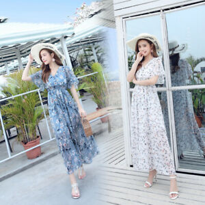 Spring-Women-039-s-Boho-Floral-Print-Maxi-Dress-V-neck-Chiffon-Slim-Long-Dresses