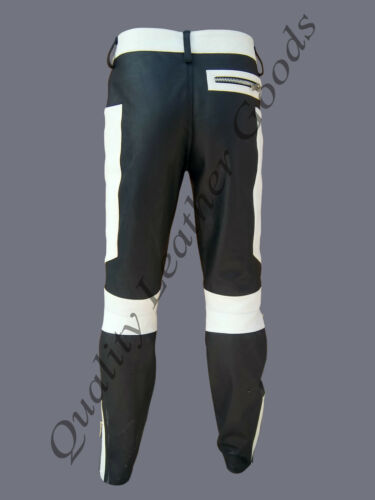 MENS LEATHER JEANS PANTS TROUSER BIKER DOUBLE KNEE ZIP FRONT BACK PADDING BLUF