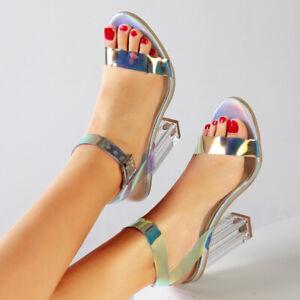 Womens-Ladies-High-Heels-Sandals-Hologram-Perspex-Clear-Block-Heel-Party-Shoes