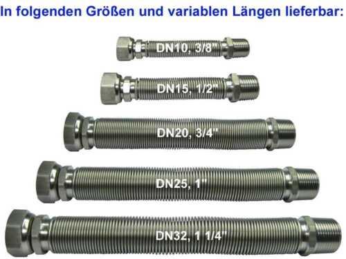 """DN10 ausziehbar mit Edelstahlanschlüsse 3//8/"""" ÜM x 3//8/"""" AG Edelstahlwellrohr V4A"""