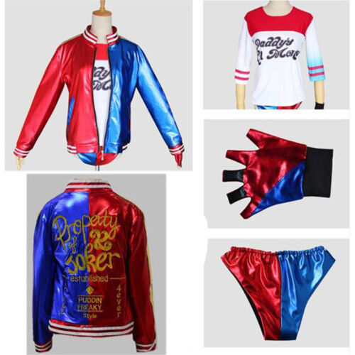 4Pcs//Sets Womens Suicide Squad Harley Quinn Cosplay Costume Outfits Fancy Dress