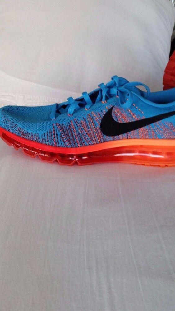 Nike Air Fly knit Max 2013 running shoe, vivid Bleu, atomic orange,  Chaussures de sport pour hommes et femmes