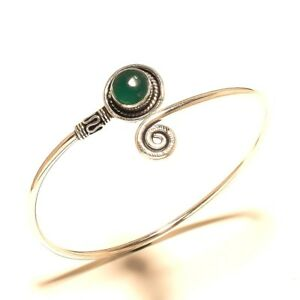 Newly-Silver-Plated-Green-Onyx-Bracelet-Cuff-Bangel-Handmade-Jewelry