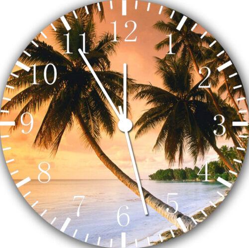Palm Tree Sunset Beach Frameless Borderless Wall Clock Nice Gifts or Decor Y34