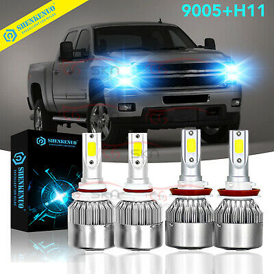 4Side 9007 LED Headlight Bulb Hi//Low Beam For Chevrolet 2500 HD 3500HD 2007-2017