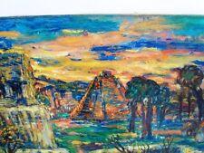 """SOURDILLON Berthe (1895-1976) """"Paysage Mexicain"""" Grande huile sur toile 1950"""
