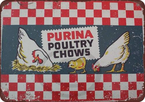 """Purina Poultry Chows Vintage Rustic Retro Metal Sign 8/"""" x 12/"""""""