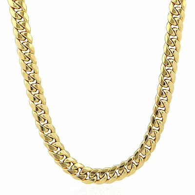 10k Gold Cuban Link Chain >> Mens Real 10k Gold Cuban Link Chain Necklace 8 Mm 20 Inch Box Lobster Clasp N Ebay