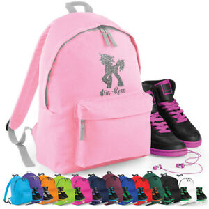 d36ca92753df Image is loading GLITTER-UNICORN-personalised-Kids-Backpack-Rucksack -Any-Name-